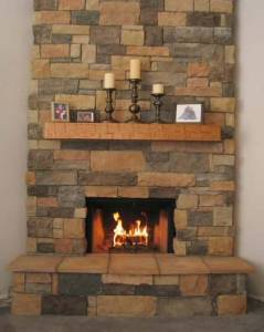 Wyatt Family Mantel #1003 Country is Hand-Hewn and is shown in oak.