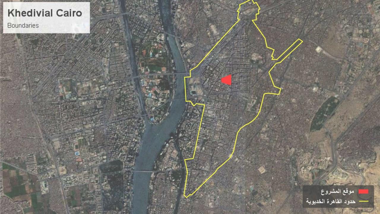 صورة من القمر الصناعي، موضح عليها حدود القاهرة الخديوية باللون الأصفر، وموقع المشروع منطقة البورصة باللون الأحمر2