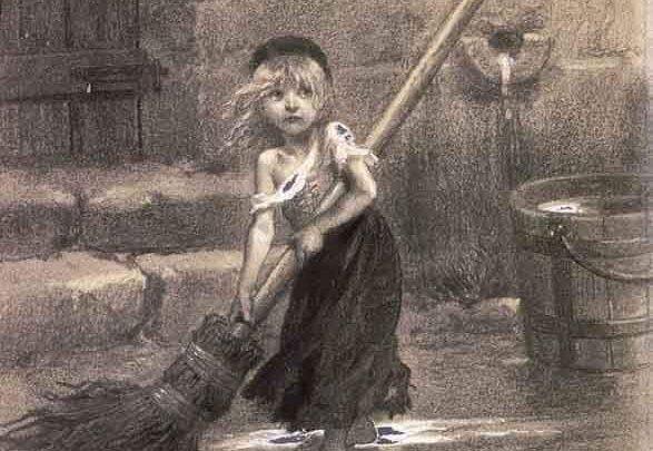"""لوحة فنية تُصور """"كوزيت"""" وهي إحدى شخصيات رواية البؤساء ، رُسمت بواسطة إيميلي بايارد ، عام 1862م .."""