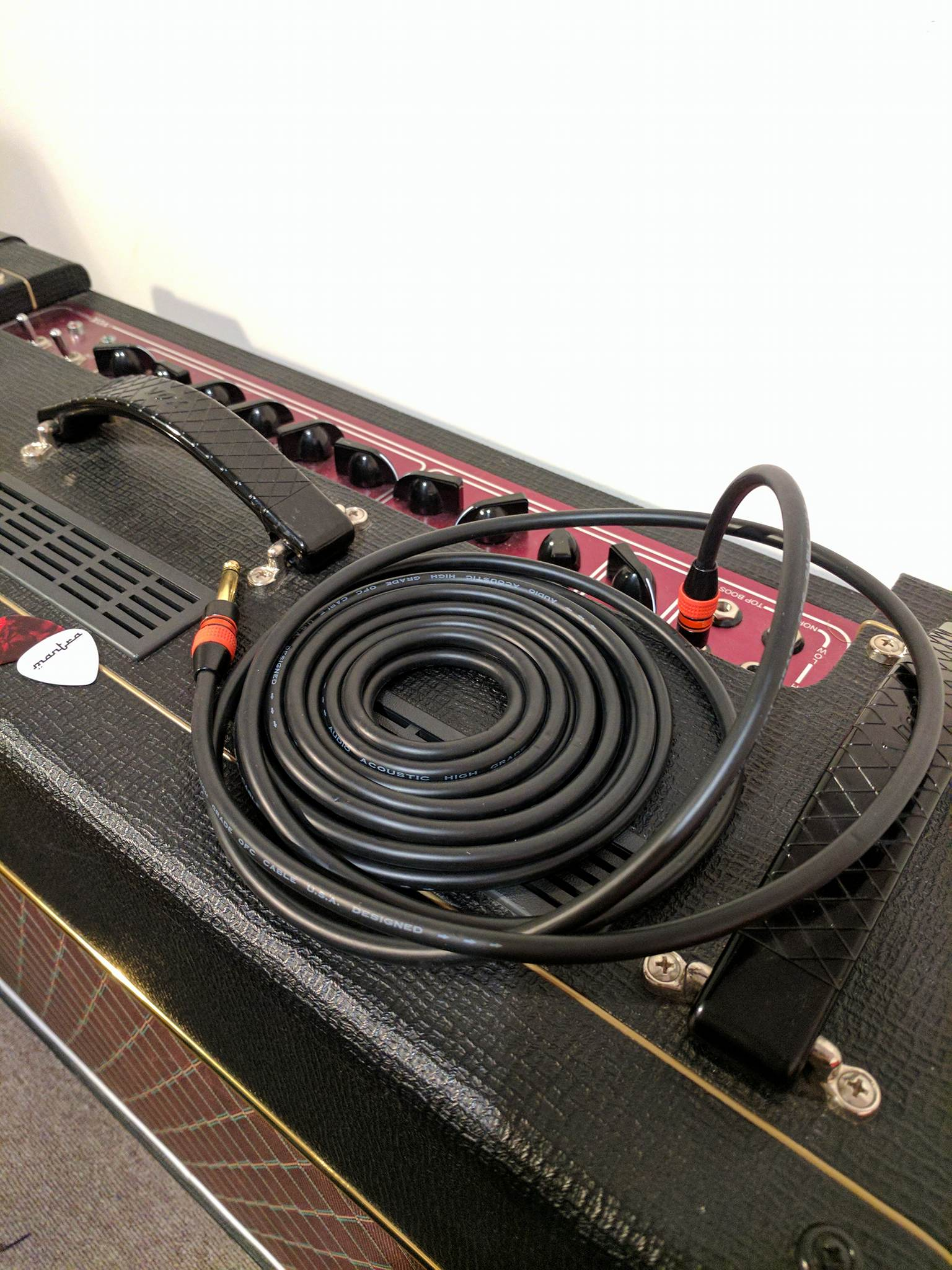 Guitar Lead (Instrument Cable) - 5m / 15ft Gold Plated 1/4\