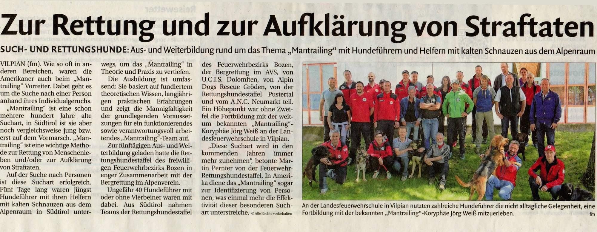 Informationsveranstaltung für Südtiroler Rettungskräfte-Zeitungsartikel