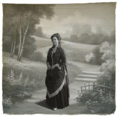 1880s Printed Velvet Bustle Gown Trimmed in Fringe