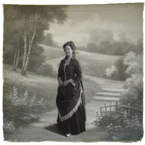 1880s Printed Velvet Bustle Gown Trimmed in Fringe