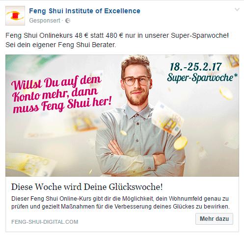Facebook Anzeige – Feng Shui Onlinekurs (Idee, Gestaltung, Werbetext)