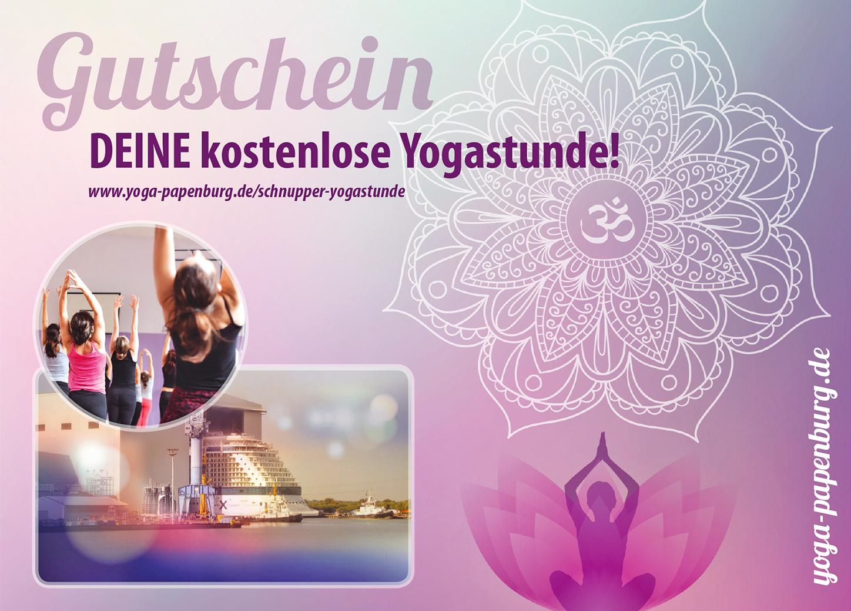 Gutschein Titelseite – Yoga Papenburg (Konzeption, Gestaltung)