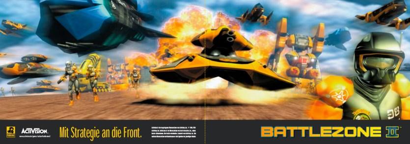 Anzeige für »Battlezone 2«, PC-Action-Spiel von Pandemic/Activision (Layout 1999)