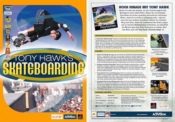Sales Sheet »Tony Hawks Skateboarding« für PlayStation; Neversoft/Activision