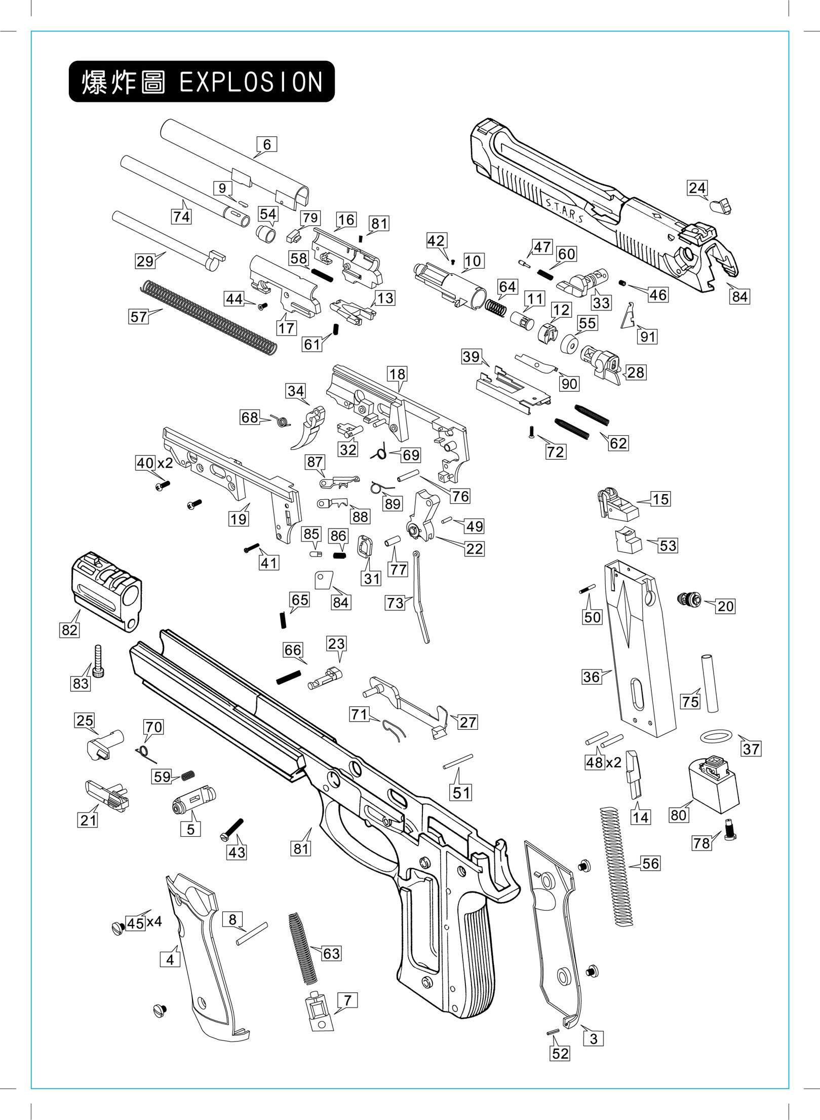 Exploded View Kimber 1911 Pistols Diagram On Para Ordnance