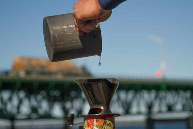 Coffee outside pour-over brewing