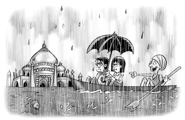 Cartoon de Gisele Brus Libutti, Índia durante as monções