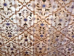 Painel com incrustrações de pedras, Red Fort Delhi