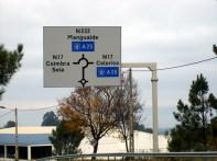 Placas em estrada em Portugal