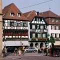Casas típicas em Obernai, Alsácia, França