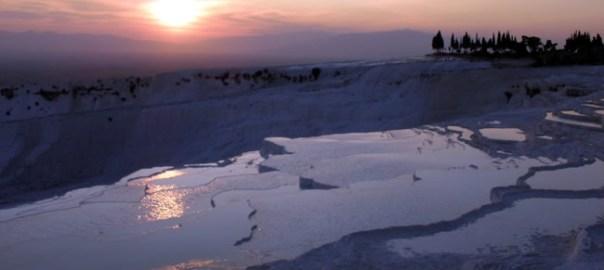 Pamukkale, Turquia, pôr do sol