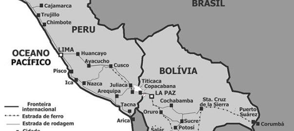 Mapa do Peru e da Bolívia