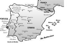 Mapa da Espanha e Portugal