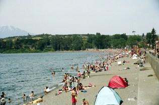 Praia lacustre, lago Villarica
