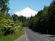Estrada perto do vulcão Villarrica