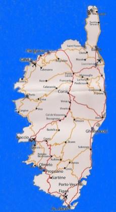 Mapa da Córsega