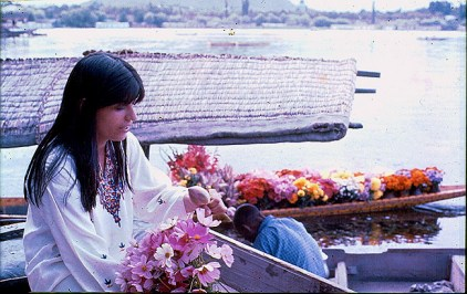 Nageen Lake, Srinagar, Cachemira, vendedor de flores