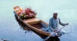 Srinagar, Índia, vendedor de flores