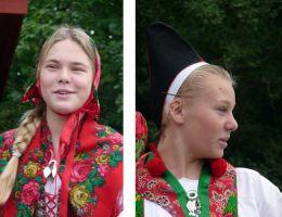 Suécia, moças com trajes típicos