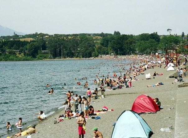 Praia no lago Villarica