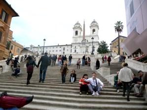 Escadarias na Piazza di Spagna, em Roma