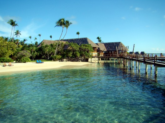 O acesso aos bangalows em Bora-Bora