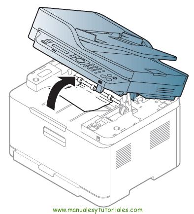 Cómo eliminar atasco de papel en la impresora Samsung Xpress SL-C460W. ATASCO EN EL ÁREA DE SALIDA 1