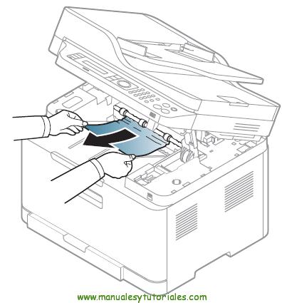 Cómo eliminar atascos de papel en la impresora Samsung Xpress SL-C460W. ATASCO EN EL ÁREA DE SALIDA 2