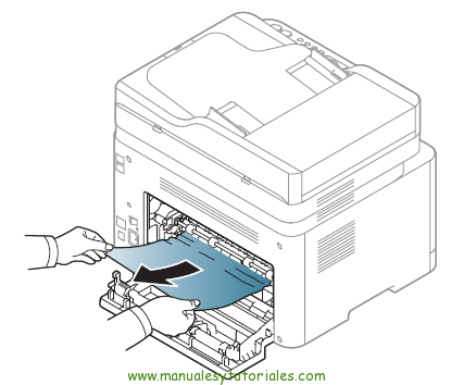 Cómo eliminar atasco de papel en la impresora Samsung Xpress SL-C460W. Atasco en el interior de la impresora 1