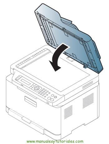 Cómo eliminar atasco de papel en la impresora Samsung Xpress SL-C460W. Tapa del escáner - Fase final