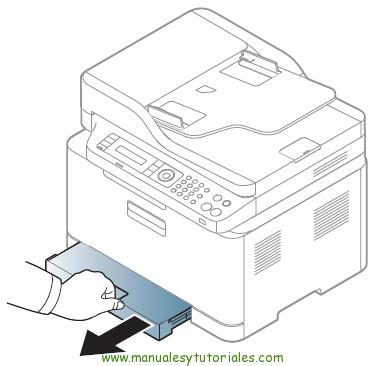 Cómo eliminar atasco de papel en la impresora Samsung Xpress SL-C460W. Atasco en la bandeja de papel 1