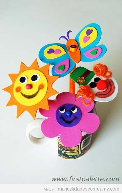 Sol flor mariposa y payaso de goma eva para l pices - Como hacer mariposas de goma eva ...