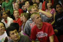 Campbell Seiler (10) yells at other sophomores to sit down during the pep rally to protest. Photo by Samantha Klein