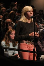 Henriette Reily (10) asks Tony Wagner a question regarding the Finland Phenonemon. photo by Taylor Ratliff