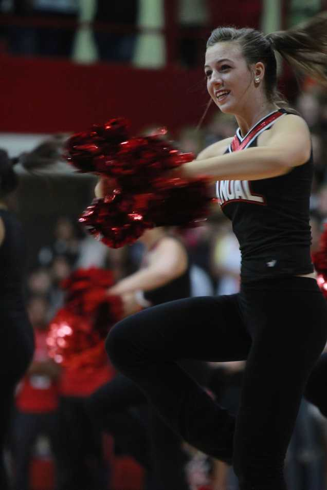 Olivia Medley(9) twirls during the Dazzler's performance during the pep rally. Photo by Noelle Pouzar.