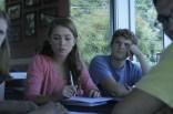 Emily Meffert (12) and Mason Gersh (12) listen as Mr. Jensen explains plans for Idea Festival in September