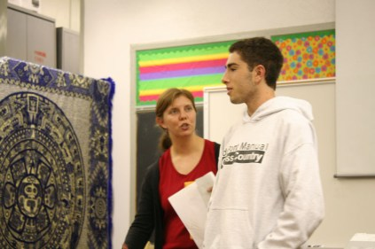 Jacob Shpilberg (12) discusses his Jewish religion with the members of International Club and Mrs. Goforth. Photo By: Alexis Weaver