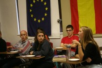 Students give their attention to Megan King while she asks Shpilberg a question. Photo By: Alexis Weaver