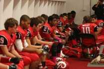 Players listening to their motivational speech