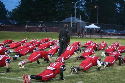 Warming up before kickoff. photo by Destony Curry