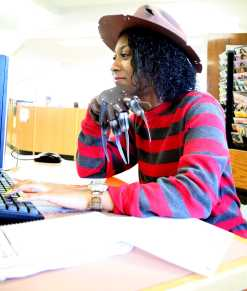 Mycala Baker (12) works on the computer dressed as Freddy Kruger in the movie Nightmare on Elm Street. Photo by Jackie Leachman