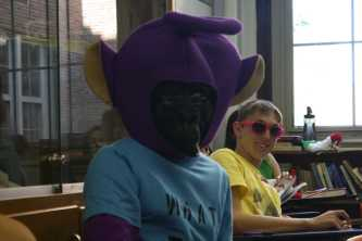 Landon Pantoja (12) combines his purple Telly-tubby costume with Ben Speelman's (11) gorilla costume to create a strange amalgamation. Photo by Mai Nguyen.