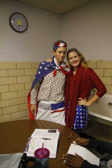 Brent Wesley (11) and Danielle Dorsey (11) in their decked-out, red-white-and-blue outfits. Photo by Kinsey Ball