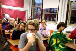 Junior students wait in Mr. Krause's room before they take the PSAT. Photo by Miracle Stewart