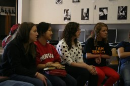 Whtney Foster (12), Brandy Edwards (11), Grace Kim (12), and Mariah Barley (11) are engaged in the discussion taking place.
