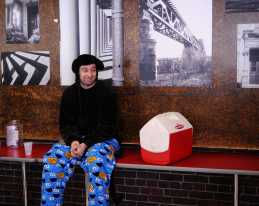 Janitor Bo James watches the cafeteria in his Cookie Monster sleewear. Photo by: Jack Steele Mattingly