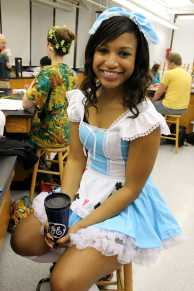 Brittany Perry (11) smiles for the camera in her Snow White costume for Red/White Week. Photo by Mesa Serikali